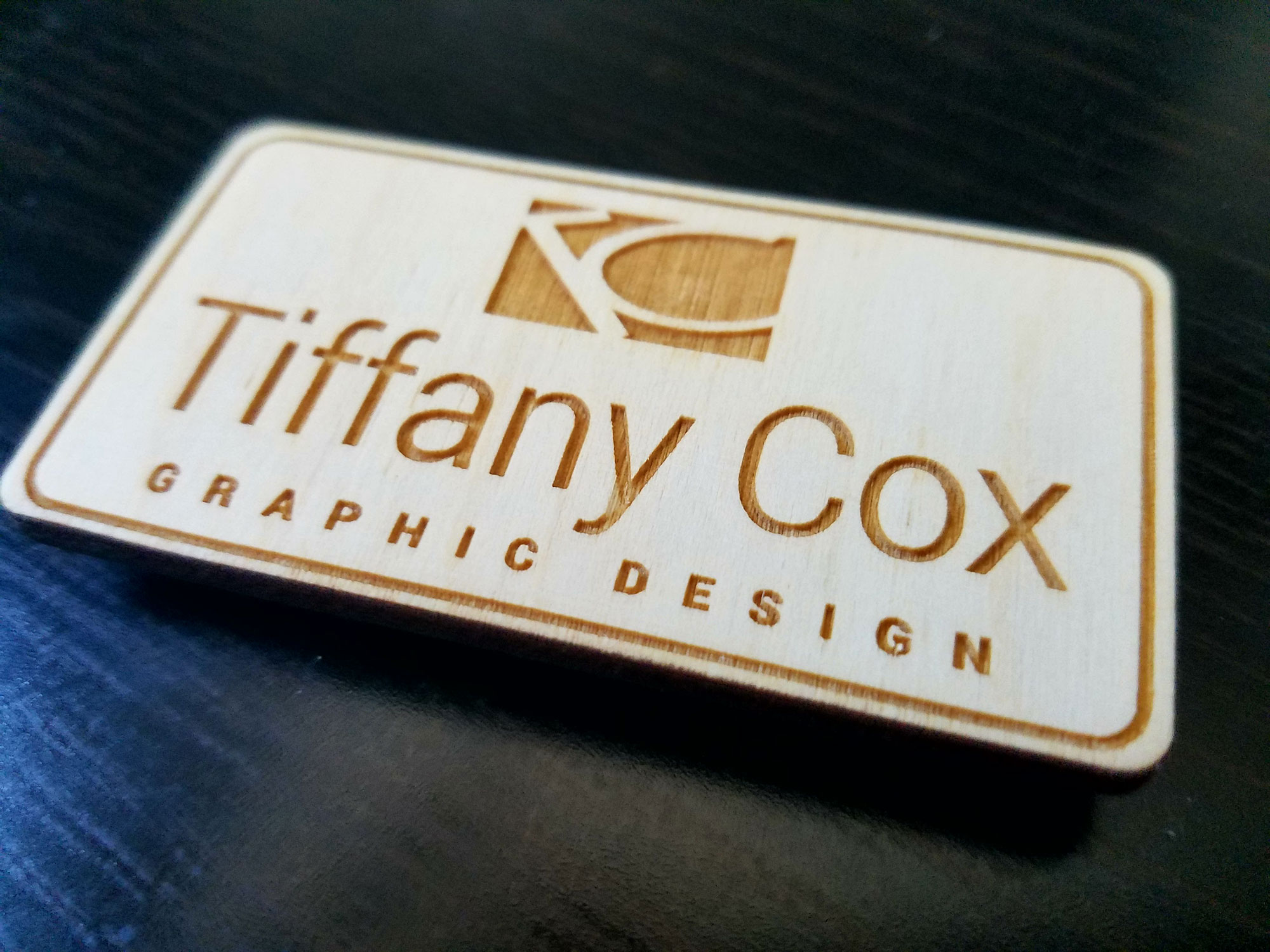 Glass Blasted Name Tag